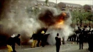 Archive photo of rioting in Moss Side