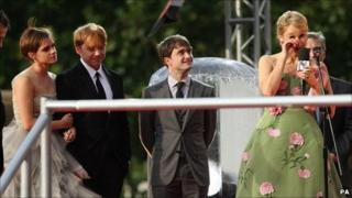 Emma Watson, Rupert Grint, Daniel Radcliffe and JK Rowling at the world premiere of Harry Potter And The Deathly Hallows: Part 2