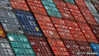 Freight containers in the port of Hamburg