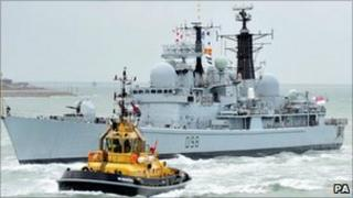 HMS York returning home to Portsmouth on Friday, 8 July