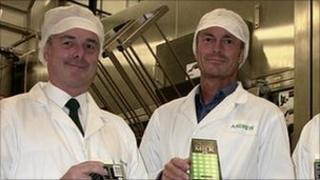 St John Ambulance and Rescue chief officer Jon Beausire and Guernsey Dairy general manager Andrew Tabel