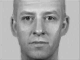 An e-fit of a man accused of assault in Criccieth