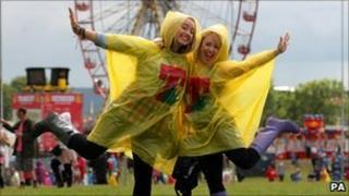 Festival goers brave the showers at T in the Park at Balado