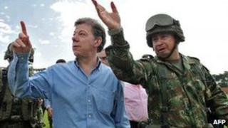 Colombian President Juan Manuel Santos visiting Corinto on 10 July