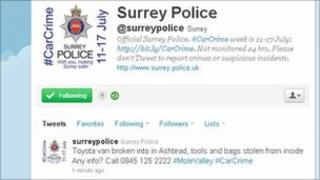 Surrey Police Twitter page