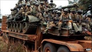 Ugandan soldiers patrolling northern Uganda in February following an LRA attack