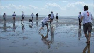 Cricket match on Buxey Sands
