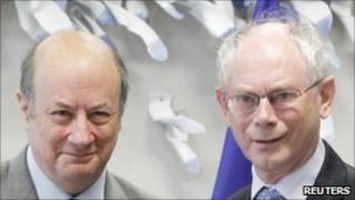 Poland's Finance Minister Jacek Rostowski (left) and European Council President Herman Van Rompuy