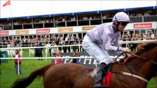 Horse racing at Doncaster racecourse