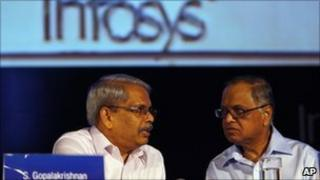 Infosys bosses at the firm's recent annual general meeting