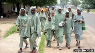 School children walk in Maiduguri (archive shot)