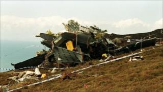 The Chinook helicopter crashed on the Mull of Kintyre on the west coast of Scotland in 1994