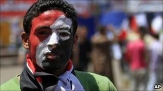 An Egyptian protester at Tahrir Square, 12 July