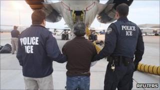 Pedro Pimentel Rios taken to a plane Mesa, Arizona, by US officials