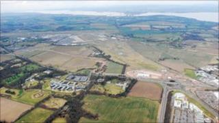 An aerial view of land earmarked for development