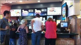 Customers at a McDonald's in West Jerusalem.