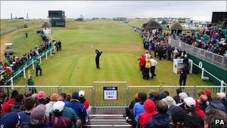 "Jerry Kelly takes the first shot of the 2011 Open Championship at Royal St George""s, Sandwich"