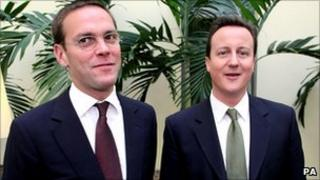 Former BSkyB Chief Executive James Murdoch (left) and Conservative party leader David Cameron stand side by side in 2007