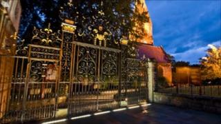 Illuminated gates at St Peter's Church, Ruthin