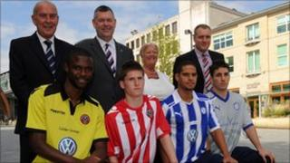 Sheffield United players and Sheffield Wednesday players in their home and away kits