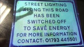 Swindon street lighting sign