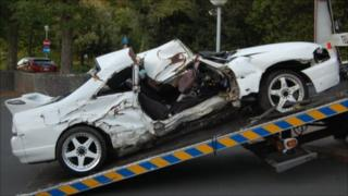Wreckage from a car crash in Guernsey