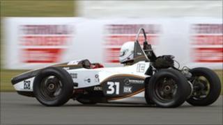 A student designed racing car.