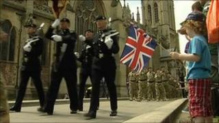 Soldiers parading outside Bristol Cathedral on 15 July.