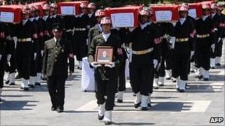 Coffins of Turkish soldiers killed in Kurdish rebel ambush
