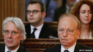 From left to right: Former Dow Jones boss Les Hinton; former News of the World editor Andy Coulson; New Corp chief Rupert Murdoch; former News International chief Rebekah Brooks (file pic)