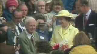 The Queen opening Humber Bridge in 1981