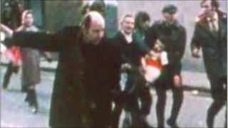 Fr Edward Daly in the aftermath of the Bloody Sunday killings