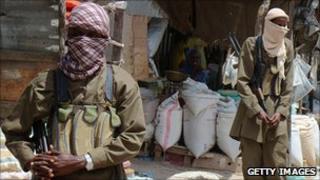 Al-Shabab insurgents on patrol in Mogadishu