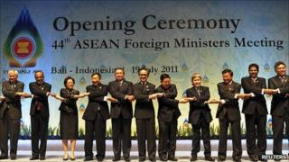 Ministers at opening of Asean summit. 19 July 2011