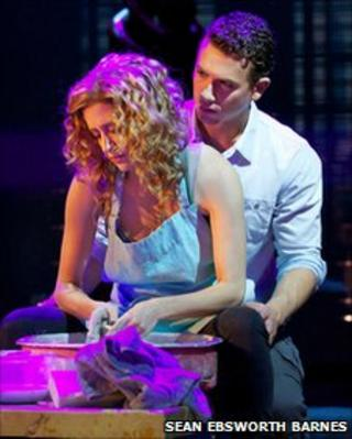 Richard Fleeshman and Caissie Levy lead the cast in Ghost The Musical playing Sam and Molly in Matthew Warchus' stage musical version (Photo: Sean Ebsworth Barnes)