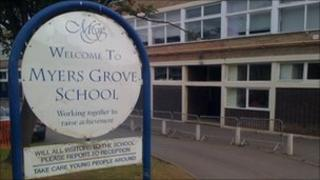 A sign outside Myers Grove school