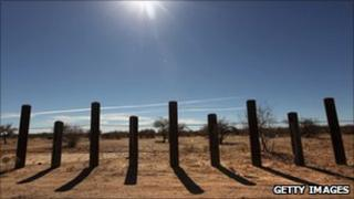 The US-Mexico border fence in Arizona