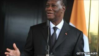 President Alassane Ouattara during a press conference in Ivory Coast