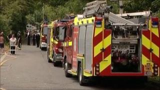 Fire engines near the caravan site in West Drayton