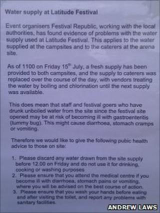 Water supply warning as posted at Latitude Festival 2011