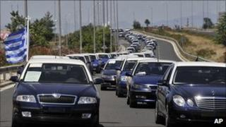 Taxi drivers' protest in northern Greece, 21 Jul 11