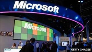Microsoft stall at consumer electronics show in Las Vegas