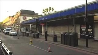 Cordon outside Bermondsey Tube station