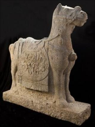 The Chinese Ming stone horse being sold at Duke's Auctioneers in Dorchester