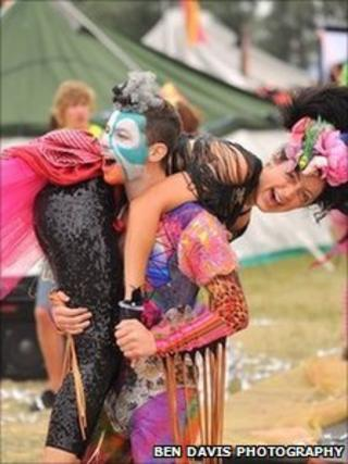 Colourful festival-goers