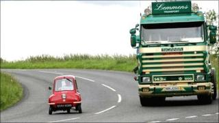 The Peel P50 microcar on the road