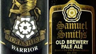 Cropton's Yorkshire Warrior beer and Samuel Smith's white rose design on one of its beers