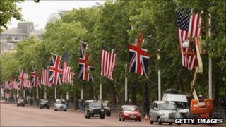 British and American flags hang in London in a May file photo