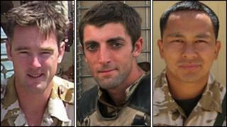 Left to right: Maj James Joshua Bowman, Lt Neal Turkington, Cpl Arjun Purja Pun