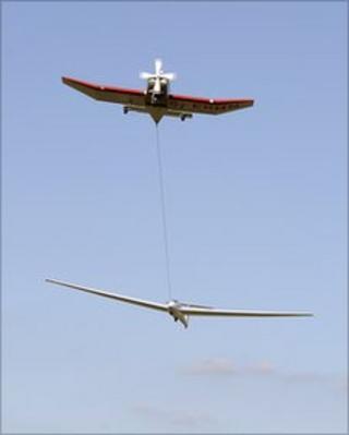 A glider being aerotowed